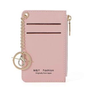 【ピンク】パスケース 定期入れ ミニ財布 コインケース小銭・カード・鍵を纏めて一つに収納可能