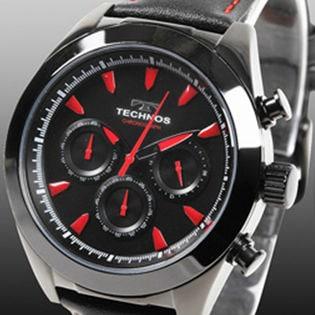 TECHNOS テクノス クロノグラフ腕時計 牛革バンド/T9451BR