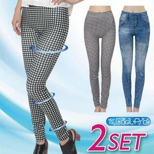 【3L-4L/サックス・ギンガム】コアシェイプクールジーンズ2色組 x1Fa9