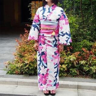 【ピンク花柄】【3点セット】コーディネイトに悩まない。 夏のお洒落を楽しむ浴衣スタイル