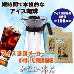 【計1kg(500g×2袋)】アイスコーヒーメーカーがもれなく付いた珈琲福袋<挽き具合:豆のまま>