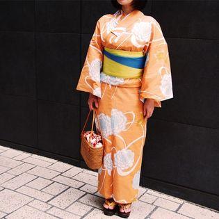 【オレンジ系】【3点セット】コーディネイトに悩まない。 夏のお洒落を楽しむ浴衣スタイル