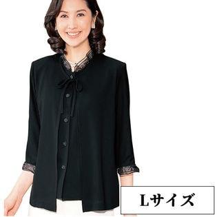 【ブラック/Lサイズ】日本製重ね着風フォーマルブラウスジャケット