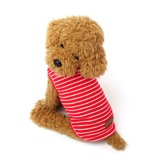 【レッド/L】犬 服 犬服 犬の服 タンクトップ ボーダー ドッグウェア