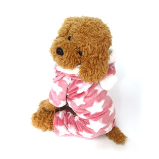 【ピンク/XXL】犬 服 犬服 犬の服 つなぎ カバーオール ロンパース フリース 星柄
