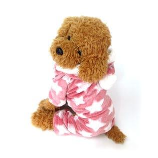 【ピンク/L】犬 服 犬服 犬の服 つなぎ カバーオール ロンパース フリース 星柄