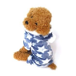 【ブルー/M】犬 服 犬服 犬の服 つなぎ カバーオール ロンパース フリース 星柄