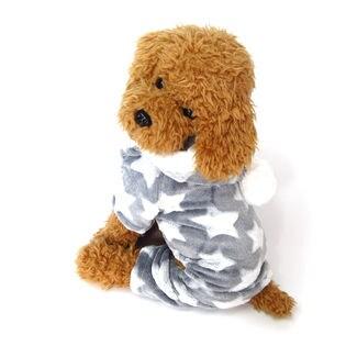 【グレー/XL】犬 服 犬服 犬の服 つなぎ カバーオール ロンパース フリース 星柄