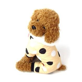 【ベージュ/XXL】犬 服 犬服 犬の服 つなぎ カバーオール ロンパース ドット柄 中綿