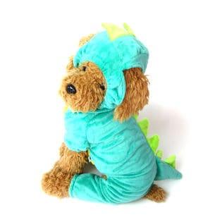 【グリーン/XS】犬 服 犬服 犬の服 つなぎ カバーオール ロンパース 恐竜 ハロウィン