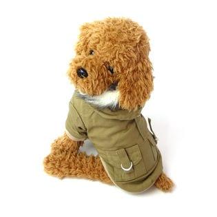 【ベージュ/M】犬 服 犬服 犬の服 モッズコート ジャケット コート
