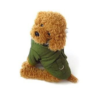 【カーキ/L】犬 服 犬服 犬の服 モッズコート ジャケット コート