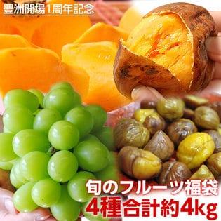 【計4kg】お試しフルーツ福袋!シャインマスカット・柿・芋・栗