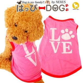 【ピンク/S】 ドッグウェア タンクトップ LOVEプリント