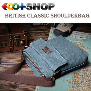 【ブルー】ブリティシュクラシック・帆布×床革ショルダーバッグ