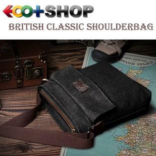 【ブラック】ブリティシュクラシック・帆布×床革ショルダーバッグ