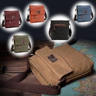 【ブラウン】ブリティシュクラシック・帆布×床革ショルダーバッグ