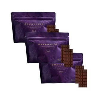 【3袋】砂糖不使用 糖質カット ヘルシー無添加チョコレート グランポワール フィリピン産カカオ90%