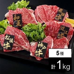 【1kg/上質】ブランド牛 焼肉 5種プレミアセット(松阪牛・神戸牛・飛騨牛・近江牛・和王)
