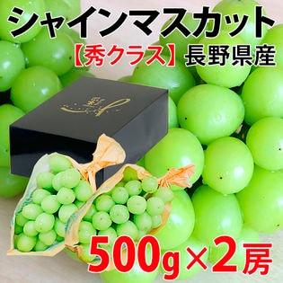 【約1kg(500g×2房)】長野県産シャインマスカット(秀クラス)