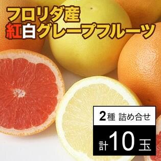 【約2.5kg(約250g×10)】フロリダ産紅白グレープフルーツ 2種計10玉