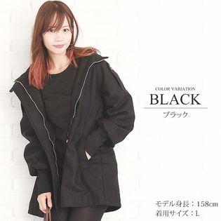 【ブラック M】フード付きリブニットコート 【vl-5104】