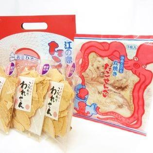 江ノ島名物 大判 たこせんべい(1枚入4袋 箱入) こだわり 白えび われせん(85gx3)) 煎餅