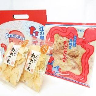 江ノ島名物 大判 たこせんべい(1枚入4袋 箱入) こだわり のどぐろ われせん(85gx2) 煎餅