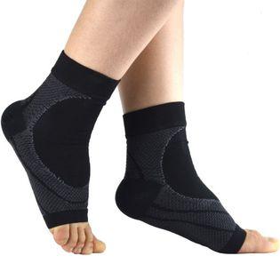 【ブラック×グレー・L】優れた伸縮性で足首をしっかりホールド  アーチ サポーター 2枚セット