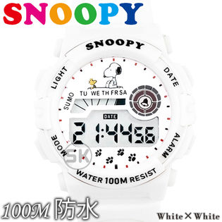 100M防水【デジタル表示 ラバーベルト キッズ 腕時計】スヌーピー レディース メンズ