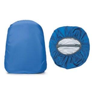 【ブルー】リュックカバー コンパクト 留め具付 落下防止機能 雨除け 防水