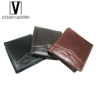 【ブラック】ルチアーノバレンチノ 牛革 折財布 LUV-6002