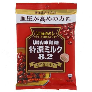 【93g×12個 (6×2B)】UHA味覚糖 特濃ミルク8.2あずきミルク袋