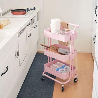 【ピンク】ハンドル&キャスター付き キッチンワゴン