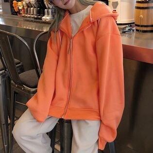 【オレンジ/L】ビッグシルエット オーバーサイズ バックデザイン パーカー 7189