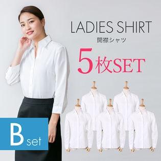 【5枚セット/3L/長袖】レディースシャツ レギュラー 開襟
