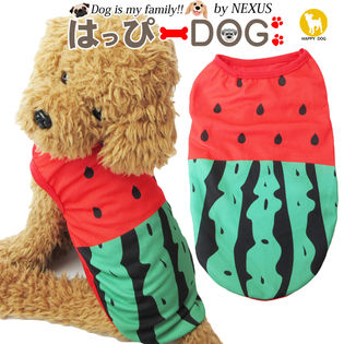 【レッド/M】犬 服 犬服 犬の服 タンクトップ フルーツ スイカ柄