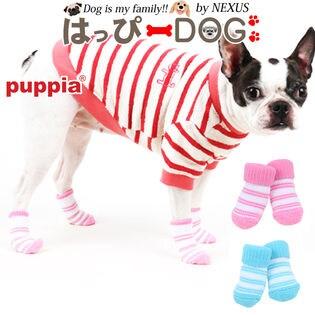 【ピンク/M】犬靴 靴 靴下 滑り止め ボーダー