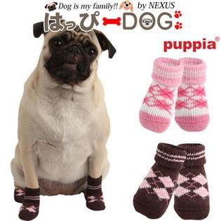【ピンク/M】犬靴 靴 靴下 滑り止め アーガイル チェック柄