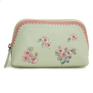 ミント×ピンク[CathKidston]ポーチ EMBROIDERED MAKE UP BAG
