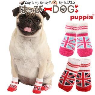 【ピンク/M】犬靴 靴 靴下 滑り止め ユニオンジャック