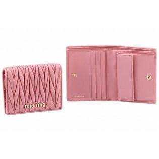 【MIUMIU】二つ折り財布/MATELASSE【ROSA】