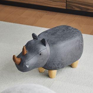 【グレー】アニマルモチーフのスツール Rhino Jr.(リノジュニア)