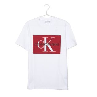 Mサイズ[CALVIN KLEIN]メンズTシャツ ホワイト EDI BOX MONOGRAM
