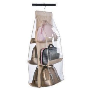【ベージュ】バッグ収納ハンガー バッグ収納ラック クローゼットにすっきり収納 ハンガータイプ