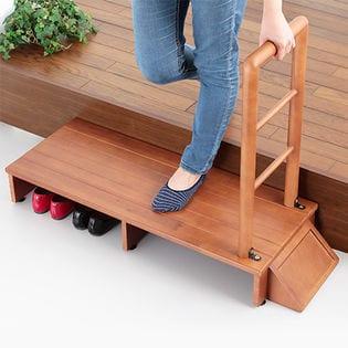 【110cm幅】木製手すり付き玄関踏み台