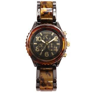 【BLK】重厚で高級感溢れる べっ甲カラー腕時計 フェイクダイヤル SRHI14-BLK メンズ