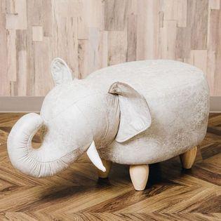 ※箱潰れあり【ベージュ】アニマルモチーフのスツール Elephant(エレファント)