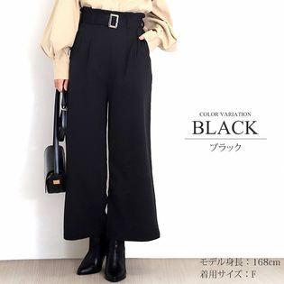 【ブラック・Fサイズ】ハイウエストベルトロングワイド パンツ