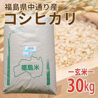 【30kg (30kg×1袋)】令和2年産 新米 玄米 福島県中通り産コシヒカリ